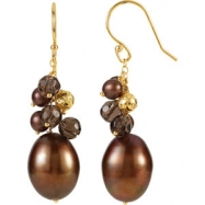 14kt Yellow EARRINGS Complete with Stone VARIOUS VARIOUS SMOKY QUARTZ AND CHOC PEARL Polished EARRIN