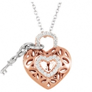 Sterling Silver NECKLACE Complete with Stone ROUND VARIOUS Diamond ROSE PLATING 1/6CTW DIA HEART 18
