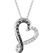 Sterling Silver NECKLACE Complete with Stone ROUND VARIOUS BLACK AND WHITE DIAMOND Polished 1/5CTW D