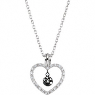 Sterling Silver NECKLACE Complete with Stone ROUND VARIOUS BLACK AND WHITE DIAMOND Polished 1/6CTW D