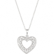 "Sterling Silver NECKLACE Complete with Stone ROUND VARIOUS Diamond Polished 1/10CTW DIA HEART 18"" NE"