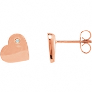 Sterling Silver Rose Plating .015 CTW Diamond Heart Earrings with Rose Plating