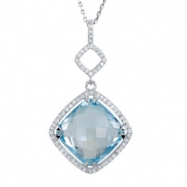 Sterling Silver Necklace Complete with Stone Sky Blue Topaz Polished Sky Blue Topaz and 1/3CTW Diamo