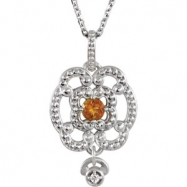 Sterling Silver Necklace Complete with Stone Citrine Polished Citrine and .015 CTW Diamond Necklace
