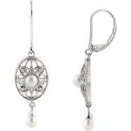 Sterling Silver COMPLETE WITH STONE PEARL AND DIAMOND Polished NONE