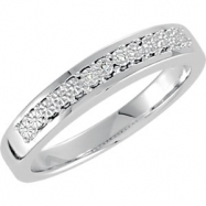 Sterling Silver Band 07.00 Complete with Stone ROUND 00.80 MM Polished .01 CTW DIAMOND WEDDING BAND