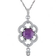 Sterling Silver NECKLACE COMPLETE WITH STONE AMETHYST & DIAMOND 18.00 INCH Polished NONE
