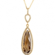14kt Yellow Necklace Complete with Stone Honey Quartz 24.00X08.00 mm Polished 1/3CTW Diamond 18.00 I