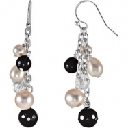 Sterling Silver COMPLETE WITH STONES ONYX, CRYSTAL, FW PEARL PAIR 46.70X08.00 MM Polished NONE