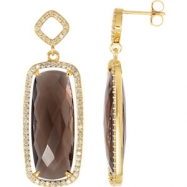 14kt Yellow COMPLETE WITH STONES SMOKY QUARTZ 25.00X10.00 MM CENTER STONE Polished NONE