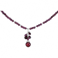Sterling Silver NECKLACE COMPLETE WITH STONE RHO GARNET AND FW CULT PEARL 16.00-18.00 INCH Polished