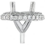 14kt White Component Partially Set 06.50 mm Polished 1/4CTW Peg Setting with Preset Melee Diamonds