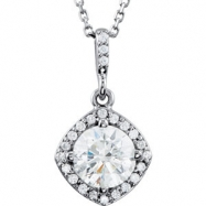 14kt White NECKLACE Complete with Stone Round 06.50 MM NONE Polished 1 1/6CTW DIA 18 INCH NECKLACE