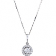 14kt White Necklace Complete with Stone 06.00 mm Polished 1 CTW Diamond Necklace