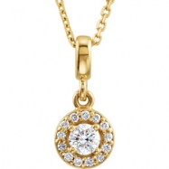 14kt Yellow NECKLACE Complete with Stone Diamond 03.40 mm Polished 1/5 CTW Diamond 18 Inch Necklace