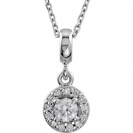 14kt White NECKLACE Complete with Stone Diamond 03.40 mm Polished 1/5 CTW Diamond 18 Inch Necklace