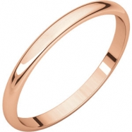 14kt Rose 02.00 mm Light Half Round Band