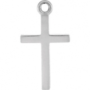 14kt White CHARM Mounting 16.12X08.86 MM Polished POSH MOMMY COLL CROSS CHARM