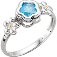 Sterling Silver Ring Complete with Stone 05.00 FLOWER 05.00X05.00 MM BLUE CZ Polished BFLOWER FLOWER