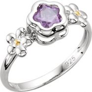 Sterling Silver Ring Complete with Stone 05.00 FLOWER 05.00X05.00 MM PURPLE CZ Polished BFLOWER FLOW