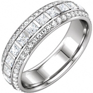 14kt White Band Complete with Stone Square 02.00X02.00 MM 07.00 Polished 1 3/4CTW DIA ETERNITY BAND