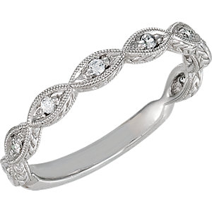 14kt White Band Complete with Stone 07.00 ROUND 01.55 MM Diamond Polished 1/10 CTW DIA ANNIVERSARY B. Price: $789.10