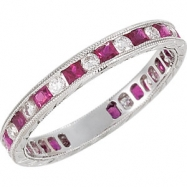 14kt White COMPLETE WITH STONES RUBY AND DIAMOND Polished NONE