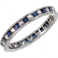 14kt White Band Complete with Stone 07.00 SQUARE 01.60 mm SAPPHIRE AND DIAMOND Polished 1/4CTW ETERN