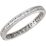 14kt White Band Complete with Stone 07.00 ROUND 01.30 mm Diamond Polished 1/2 CTW DIAMOND ETERNITY B