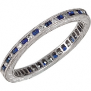 14kt White Band Complete with Stone 07.00 ROUND 01.30 mm SAPPHIRE AND DIAMOND Polished 1/4 CTW DIA &