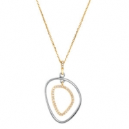Sterling Silver & 14kt Yellow NECKLACE COMPLETE WITH STONE HIGH POLISH Polished NONE