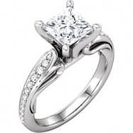 Platinum Engagement Semi-Mount without Head SI2-SI3 NO STONE NO STONE Polished 1/5 CTW SCULPTURAL SE