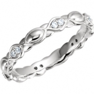 14kt White Band Complete with Stone Diamond I2 07.00 Polished 1/8 CTW Diamond Sculptural Eternity Ba