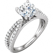 14kt White ENGAGEMENT BASE Semi-Mount SI2-SI3 Round 01.30 mm Diamond Polished 3/8 CTTW SEMI-MOUNT SC