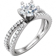 Platinum Engagement Semi-Mount without Head NONE Round NO STONE NONE Polished 3/8CTW DIA SCULPTURAL