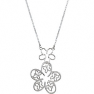 Sterling Silver Necklace Butterfly and Floral Necklace