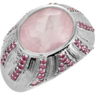 Sterling Silver Quartz Pink Tourmaline Polished Oval Gemstone Ring
