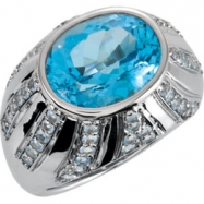 Sterling Silver Topaz Swiss Blue Aquamarine Polished Oval Gemstone Ring