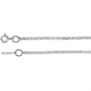 14kt White BULK BY INCH Polished ROLO CHAIN