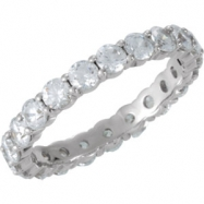 14kt White Band 07.00 Complete with Stone ROUND 03.00 MM Polished 2 CTW ETERNITY BAND