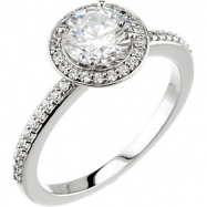 14kt White Engagement Semi-Mount with Head SI2-SI3 Round 07.40 MM Polished 1/5 CTW SEMI-MOUNT ENG RI