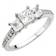 14kt White Engagement Semi-Mount with Head SI2-SI3 Princess 05.00X05.00 MM Polished 1 1/2CTW ACCE 3