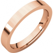 14kt Rose 03.00 mm Flat Comfort Fit Band