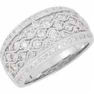 14kt White 1 CTTW Polished DIAMOND RING