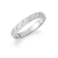 14kt White SIZE 09.00 Polished HAND ENGRAVED BAND