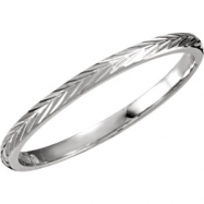 14kt White SIZE 08.00 Polished HAND ENGRAVED BAND
