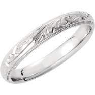 14kt White 6 Hand Engraved Band
