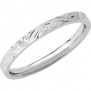 14kt White SIZE 10.00 Polished HAND ENGRAVED BAND