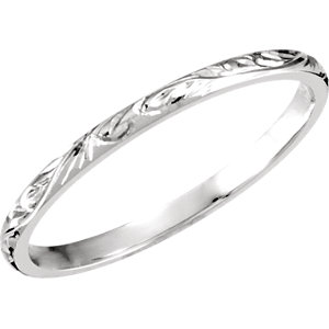 14kt White SIZE 07.00 Polished HAND ENGRAVED BAND. Price: $842.67