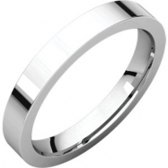 Sterling Silver 03.00 mm Flat Comfort Fit Band